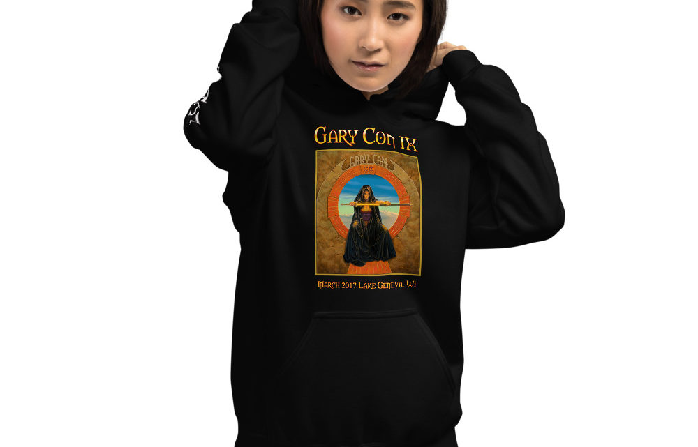 Gary Con IX The Gate Reprint- Unisex Hoodie with Sleeve Image (PF)
