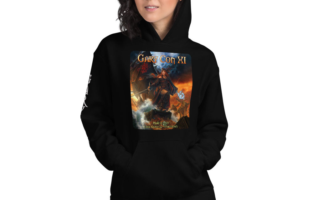 Gary Con XI Pirate Queen Reprint- Unisex Hoodie with Sleeve Image (PF)